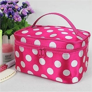 Large Capacity Cosmetic Bag Portable Storage Hand with Mirror