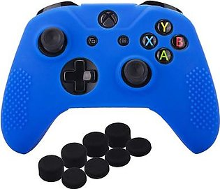Studded Silicone Cover Skin Case for Microsoft Xbox One X & Xbox One S Controller x 1 with Pro Thumb Grips 8 Pieces(Blue)