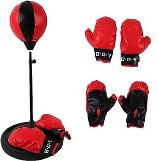 Set of 3 - Rexine Punching Bag with Half Punching Gloves & Boxing Gloves - Red & Black