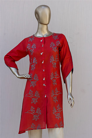 Red Embroidered Cotton Kurti for Women