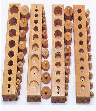 Cylinder Blocks (10 knobes in a block x 4 blocks) for children education Montes…