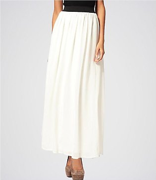 STYLE UP White Chiffon ankle length Long Maxi Pleated Skirt For Women, Skirt ...
