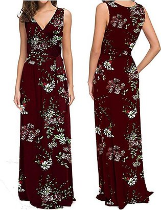 Women's Sleeveless Summer Floral Printed With Belt Maxi Dresses Casual  Dress