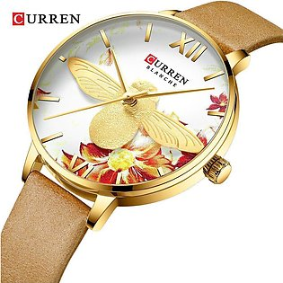 CURREN 9061 Watches for Women Casual Leather Strap Quartz Wristwatch Luxury C...