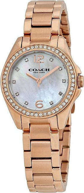Coach Tristen Mother of Pearl Dial Ladies Rose Gold Tone Watch 14502104