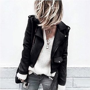 Winter Women Tops Casual Autumn Faux Suede Slim Zippers Short Cool Motorcycle Jacket Coat