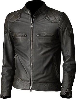 Feather Hide David Beckham Brazil Motorcycle Quilted Black Leather Jacket