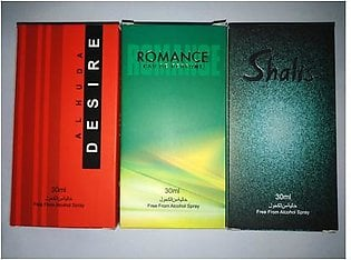 3 bottles perfume of alkohl free desire shalis and romance of 30 ml each
