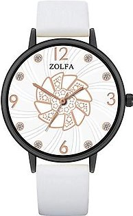 Zolfa Luxury Women Watches Fashion Leather Strap Quartz Watch Wristwatch