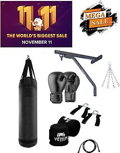 pack 7 punching bag wall stand boxing gloves bandage jumping rope