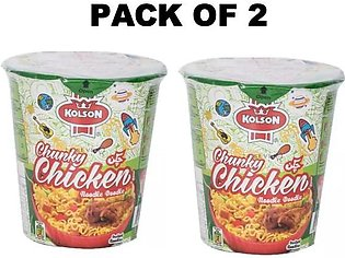 kolson Instant Noodles Cups Pack Of 2 Cups Chicken Flavor 50 grm each