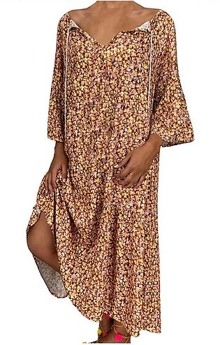 Loose Print Three Quarter Sleeve Bandage Long Women Dress Summer Women Dress