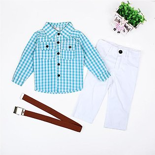 Gentleman Children'S Clothing Boy Long Sleeve Plaid Shirt White Trousers With B…