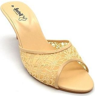 Synthetic Fawn Golden Slipper For Women 2411/611