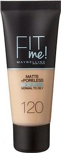 Maybelline New York Fit Me! Matte + Poreless Foundation Makeup Foundation for Women Matte Finish - Shade : Classic lvory 120 - Made in New York