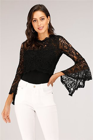 Mantra Black Lace Top With Flared Sleeves For Women - 54496WTB