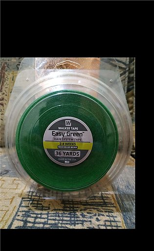 """Easy green tape 36 yards double sided 3/4"""" roll for hair patches or wigs."""