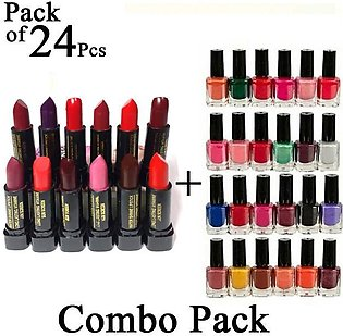 Combo Pack of 24 Pcs - Mendora Nail Polish 12 Nail Paint and 12 Lipstick - Lip …
