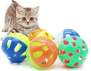 Pet cat toy ball plastic two-color Bell Hollow 3.8cm cat fun throw PET plastic …
