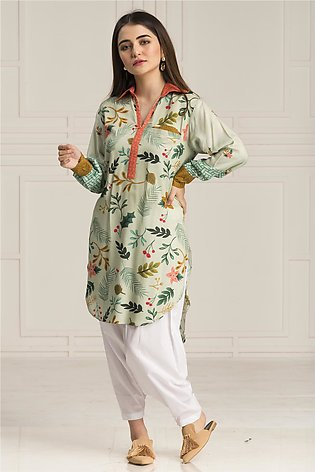 BTW Stitched Whisper of Grass Casual Printed shirt