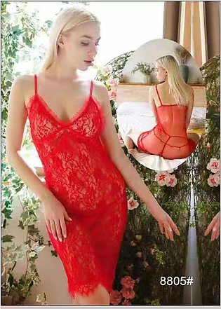 Nighty New Western Style Ladies Night Suit And Casual Dress Red Colour