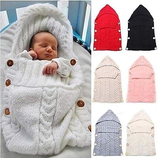 Baby Wrap Swaddle Warm Knitted Wool Crochet Infant Baby Sleeping Bag Baby Bands…