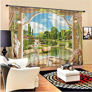 2 Panel Blackout Blinds Thermal Insulated Landscrape 3D Printed Window Curtain