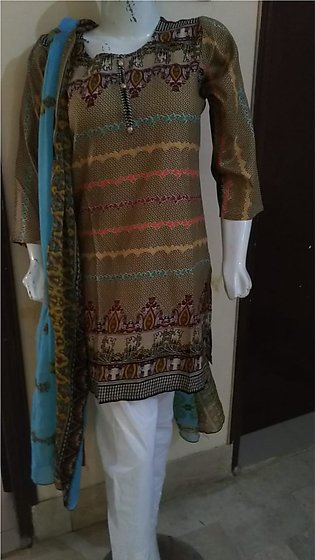 Multi color printed & stitched 3 piece suit for females stuff lawn by A-J Corner