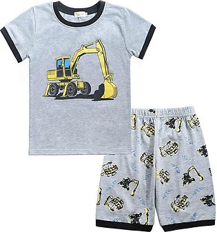 ✫Good Quality✫ Toddler Baby Boy Cartoon Tops T-Shirt excavator Shorts Outfits S…