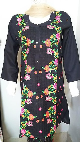 Black color embroidered & stitched three piece suit for females stuff cotton ...