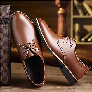 Large Size Men Casual Business Shoes Pointed Bright and Comfortable Lace Dres...