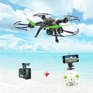 6 Axis HD Aerial Quadcopter Drone with WIFI & Mobile connectivity -Black & Green