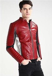 Feather Hide Men's White and Red Leather Motorcycle Jacket