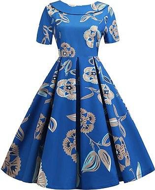 Doll Collar Women Dress Floral Print Back Bowknot Hepburn Party Women Dress