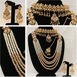 Bridal Complete Set of jewellery With Maroon Heavy Mala for Weddings,Party, d...