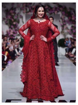 Red Embroidered Chiffon Bridal Dress
