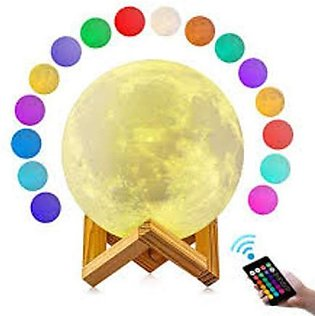 16 Colors Moon Light Remote Control Usb Touch Light 3d Printing Moon Lamp Lumin…