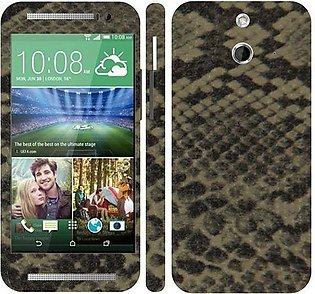 HTC ONE E8 Dual Sim  Snake Leather Texture Mobile Skin - Grey Brown