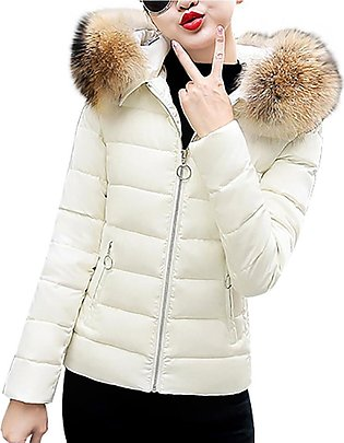 Women Winter Warm Fur Faux Hooded Short Slim Cotton-padded Cotton-padded Jack...