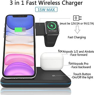3 in 1 15W Qi Wireless Charger For iPhone X 8 Xiaomi Wireless Fast Charger Do...