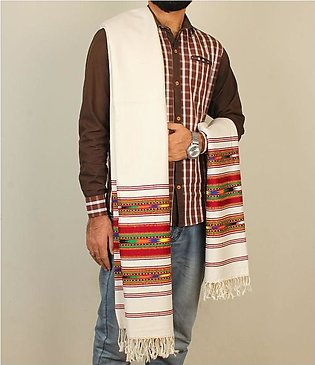 Handmade Wide borders khaddar Shawl For Gents