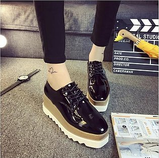 Women's Shiny Lace Up Flats Double Platform Creepers Shoes Oxfords 2017 Fashi...