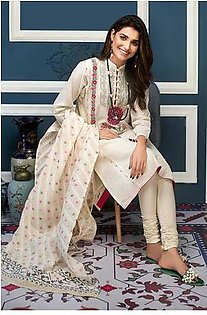 """GA - GA - Gul Ahmed-Summer Collection 2019 Off.White Jacquard Collection-3 PC Unstitched-MJ-04 -195987"""""""