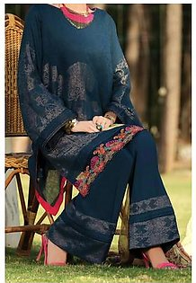 Almirah Summer Collection Vol: 03 JACQUARD Prussian Blue Ladies 03 PC Stitched Suit for Women