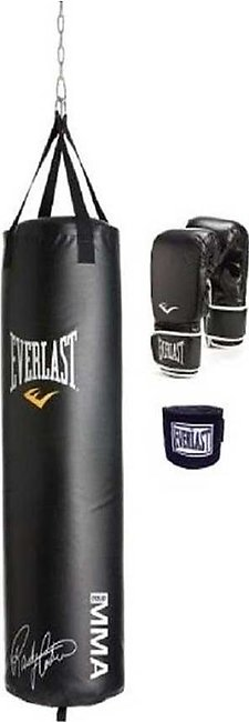 Strong And Hard Punching Bag, Gloves And Wrist Grip - Boxing Kit