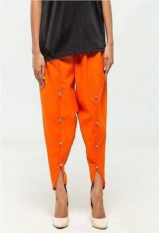 Orange Cotton Tulip Shalwar for Women