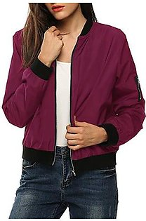 Womens Classic Quilted Jacket Short Bomber Jacket Coat RD/L