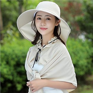Women Satin Solid Color Bucket Sun Hat With Shawl Multi-function Sunshade Hats …