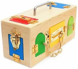 wooden toy lock activity box for kids education