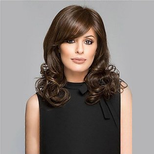 Short Oblique Bangs Brown Curly Hair Natural Fiber Wigs Synthetic Hair